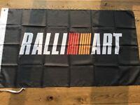 Ralliart Mitsubishi Evo tommi Makinen workshop flag banner