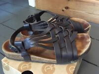 Red or Dead brown leather ladies sandals size 5