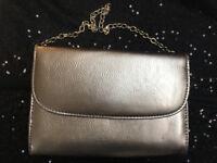 Jones Bootmaker grey-silver metalic, chain strap, evening hand or clutch bag. Inner pocket. £5 ovno