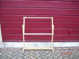 """workstation / easel / adjustable wooden stand. Base measures 33"""" x 12"""""""