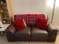 Two seater brown leather sofa- swindon