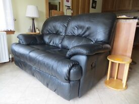 Leather 2 seater fully reclining settee