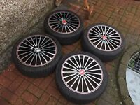 "4 x 18"" KURO POLISHED ALLOY WHEELS + 4 EXCELLENT TYRES 5x100 MULTIFIT GOLF MK4 AUDI TT MK1 A3 SEAT"