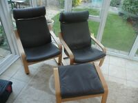 2off IKEA Poang chairs, and a matching footstool