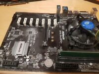 ASROCK H110 PRO BTC+ motherboard with Crucial 4GB DDR4 2400 MT/s RAM and Intel G4400 3.3GHz CPU