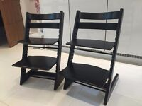 2 X Black Tripp Trapp Chairs - Very Good Used Condition