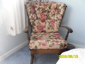Chair - floral upholstery, wooden frame