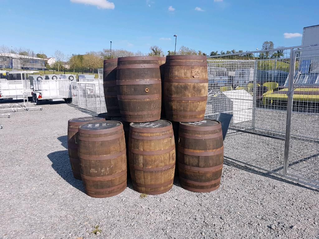 Old original heavy duty whiskey barrels
