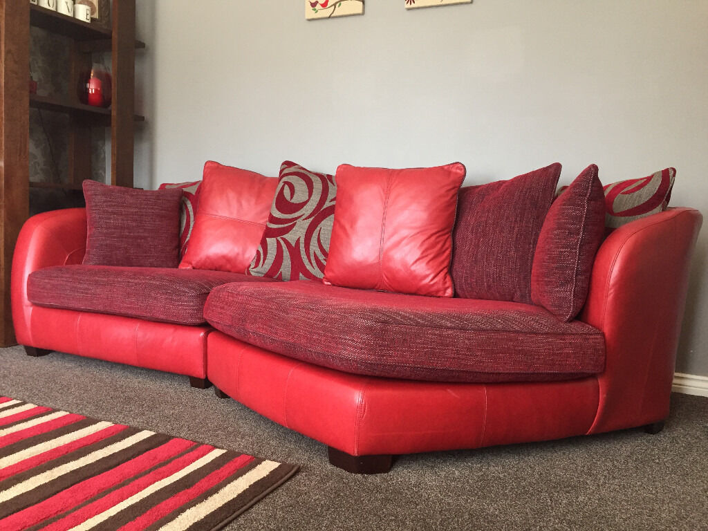 Dfs red leather fabric designer sofa large 3 seater for Red leather fabric
