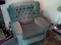 Three Seater Sofa and two Armchairs in Green Velour/Velvet