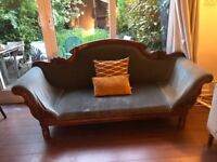 Beautiful teal and faux mahogany sofa chaise longue