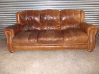 Large Tan Leather 3-1-1 Suite