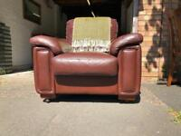 Vintage retro large brown leather lazy boy armchair ( damaged)