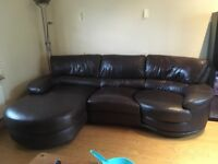 Leather Corner Sofa dark brown