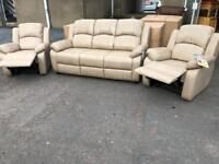 New** Stunning 3+1+1 taupe suite - reclining armchairs