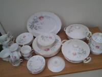 37 piece dinner and tea service.elizebethan morning rose bone china.