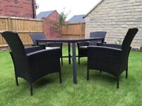 5 piece Rattan Garden Furniture Set including cushions