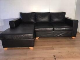 Black real leather corner sofa with free delivery within London