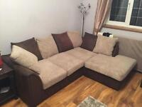 Corner sofa, two seater sofa and storage footstool