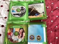 GTA V, Star Wars Battlefront for xbox one and official xbox one stereo headset (with adapter)