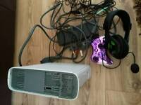 Xbox 360, controller and turtle beach headset.