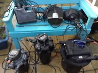 Fish pond pumps and filters x3 of each