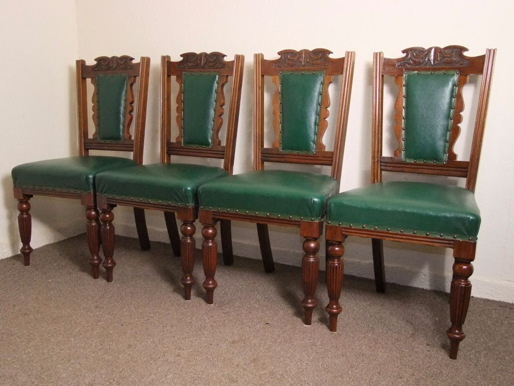 SET OF 4 ANTIQUE EDWARDIAN CARVED OAK GREEN UPHOLSTERED DINING CHAIRS FREE DELIVERY IN GLASGOW AREA