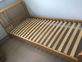 Single maple wood bed and mattress