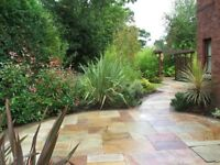 TINTED MINT NATURAL SANDSTONE PAVING SLABS RANDOM PATTERN (COBBLES & FEATURE CIRCLES ALSO AVAILABLE)