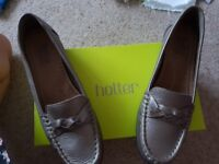 Hotter Ladies leather bronze flat shoes - never been worn, with box.