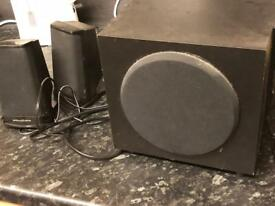 Aux speakers and bass speaker perfect for iPhone / tv