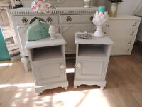 """Shabby chic solid pine bedside tables painted """"Paris grey"""""""