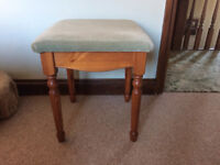 Pine Dressing Table Stool with a Green Cover