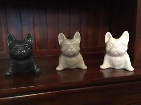 Set of 3 French bulldog ornaments figures statues