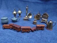 Collection of brass and pewter miniatures, wooden train, for display or dolls house - reduced price!