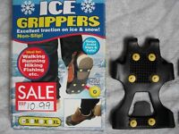 ICE GRIPPERS EXCELLENT TRACTION ON ICE AND SNOW IDEAL FOR WALKING, RUNNING, HIKING ETC NEW BOXED