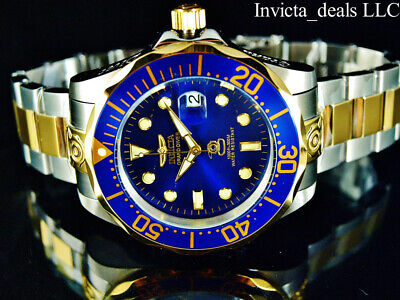 Invicta Men's 47mm GRAND DIVER Automatic Blue Dial Gold Plated Two Tone SS Watch