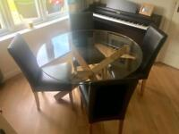 Oak & glass round dining table and 4 chairs