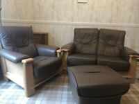 Leather 2 seater ,chair and stool