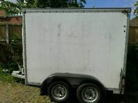 Trailer, large, Twin axle, Roller shutter.