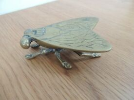Vintage Solid Brass Fly Vesta Match Stick Holder or Trinket Box
