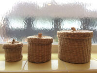 Ikea Ljusnan Set of 3 Seagrass Baskets with Lids
