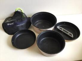 Outwell set of 4 camping pan pans with handle and bag