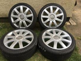 """18"""" genuine Audi wheels with really good tyres 5x112"""