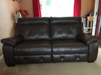 Lovely brown leather effect sofa