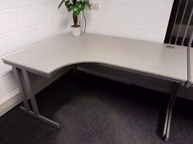 **Reduced price** Office furniture clearance, Pedestals, Desk, Crescent desk, in grey woodgrain