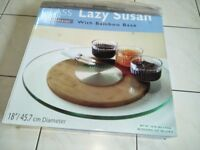Glass Rotating Lazy Susan Turntable Serving Plate