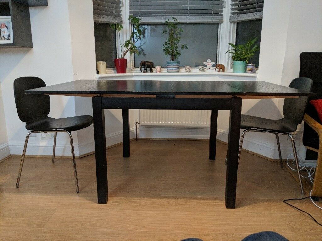 Ikea Black Extendable Dining Table 2 Chairs In Belvedere