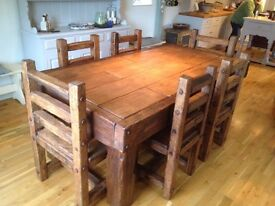Solid Oak Dining Table with 6/8/10 chairs or benches