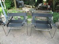 Pair of Wassily black leather chairs